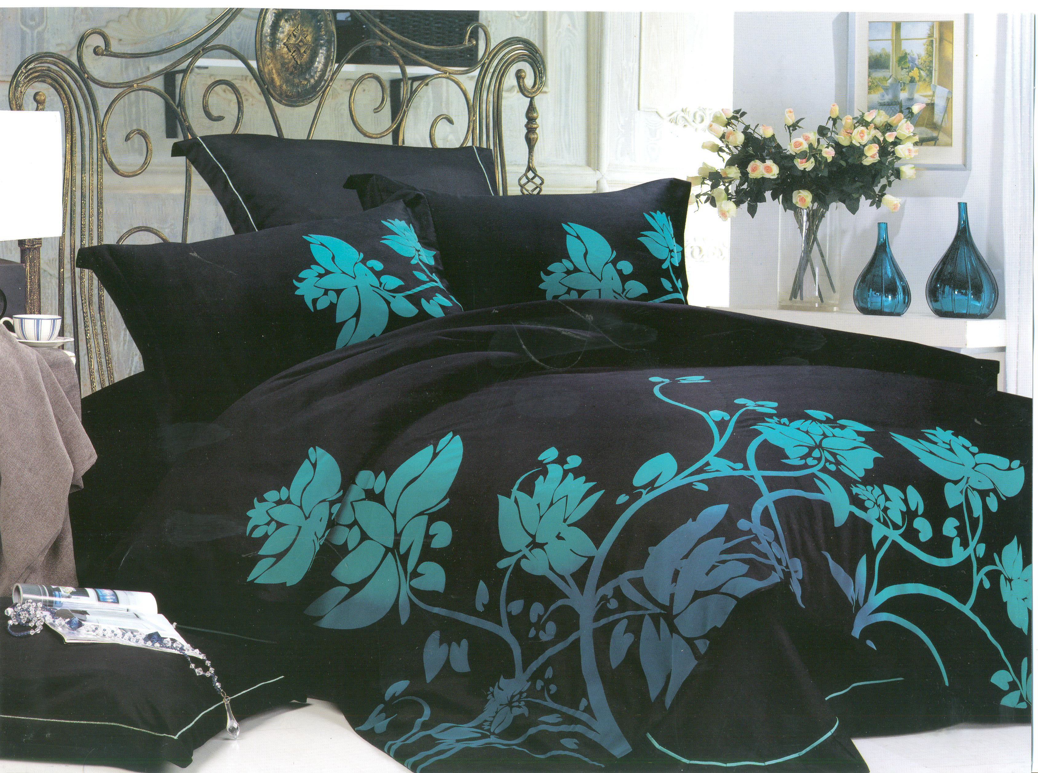 Купить Комплекты постельного белья СайлиД, Постельное белье Killil К-32 (2 сп. евро), Китай, Кремовый, Черный, Хлопковый сатин