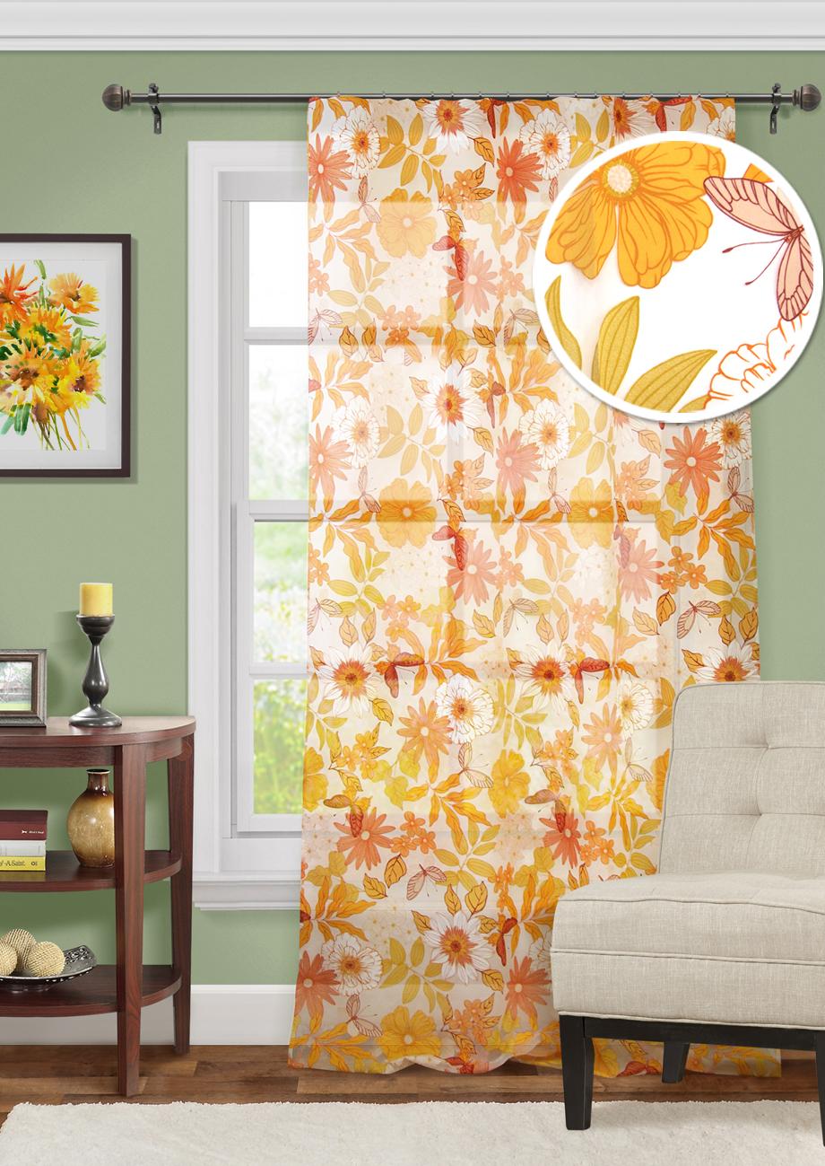 Купить Шторы Kauffort, Классические шторы Gallagher Цвет: Оранжевый, Россия, Органза