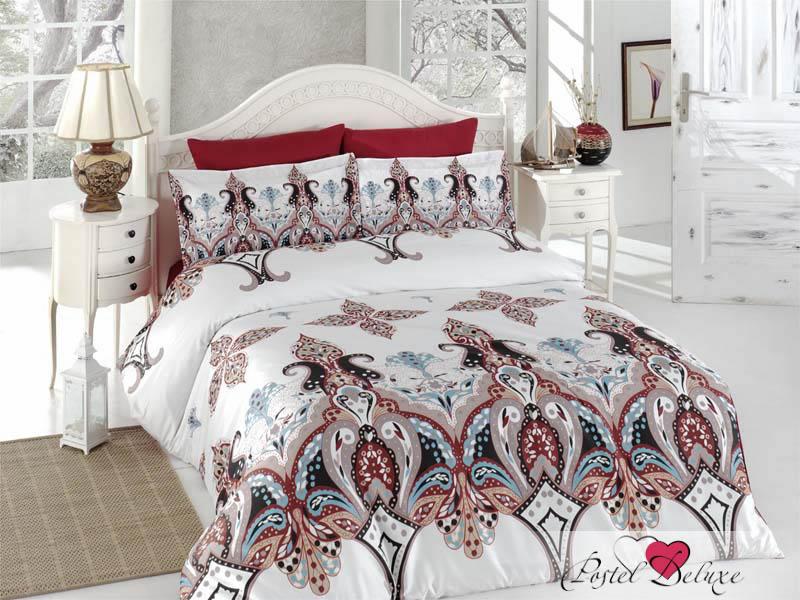 Купить Комплекты постельного белья Karna, Постельное белье Eplika (1, 5 спал.), Турция, Белый, Бордовый, Хлопковый сатин