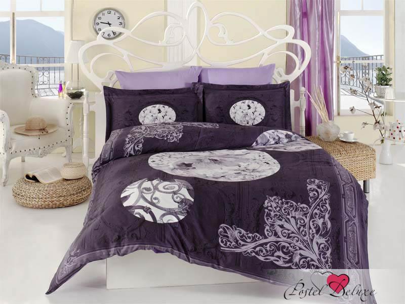 Купить Комплекты постельного белья Karna, Постельное белье Villure (2 сп. евро), Турция, Фиолетовый, Хлопковый сатин