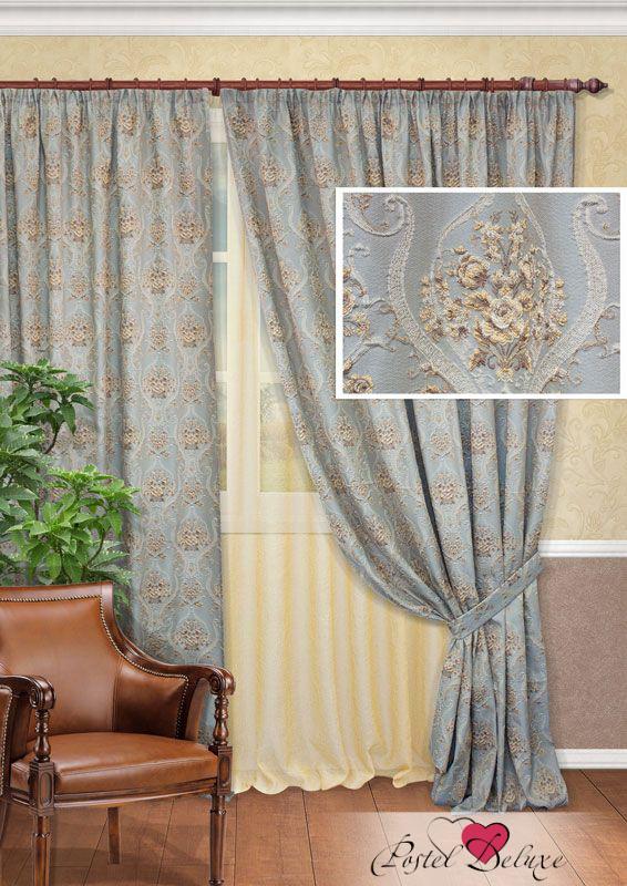 Купить Шторы Kauffort, Классические шторы Cherette Цвет: Серо-Золотой, Россия, Серый, Портьерная ткань