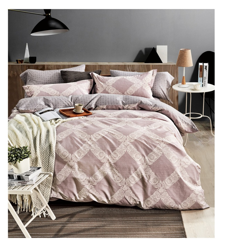 Купить Комплекты постельного белья Famille, Постельное белье Canberra (2 сп. евро), Китай, Розовый, Хлопковый сатин