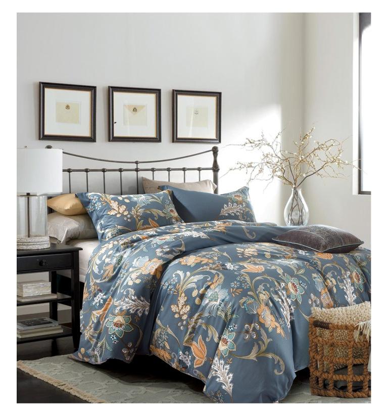 Купить Комплекты постельного белья Famille, Постельное белье Buhara (2 сп. евро), Китай, Синий, Хлопковый сатин