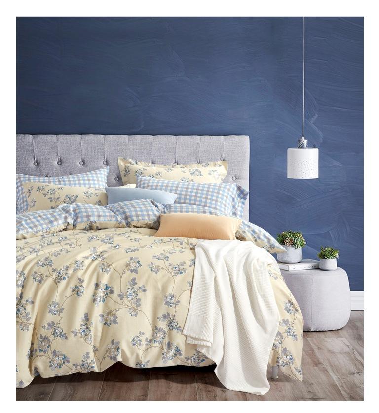 Купить Комплекты постельного белья Famille, Постельное белье Endless (семейное), Китай, Голубой, Желтый, Хлопковый сатин