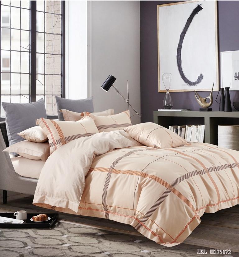 Купить Комплекты постельного белья Famille, Постельное белье Lilyum (2 сп. евро), Китай, Бежевый, Хлопковый сатин