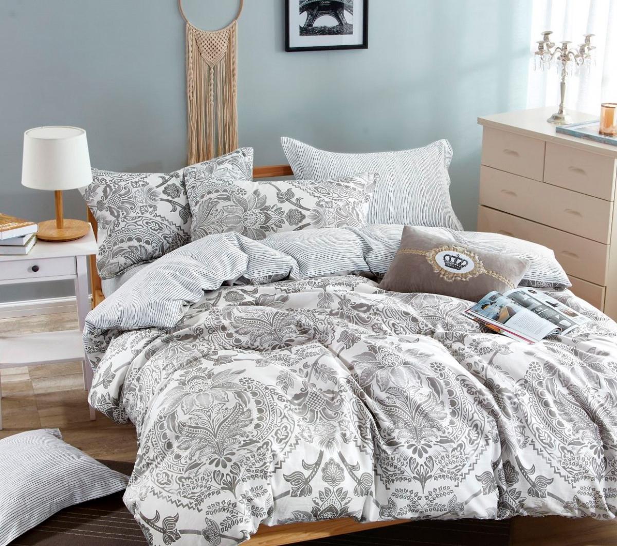Купить Комплекты постельного белья Famille, Постельное белье Norberta (2 спал.), Китай, Серый, Хлопковый сатин