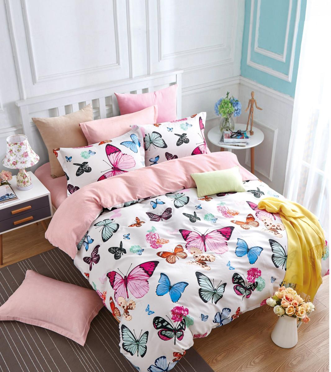 Купить Комплекты постельного белья Valtery, Постельное белье Gus (1, 5 спал.), Китай, Белый, Розовый, Хлопковый сатин