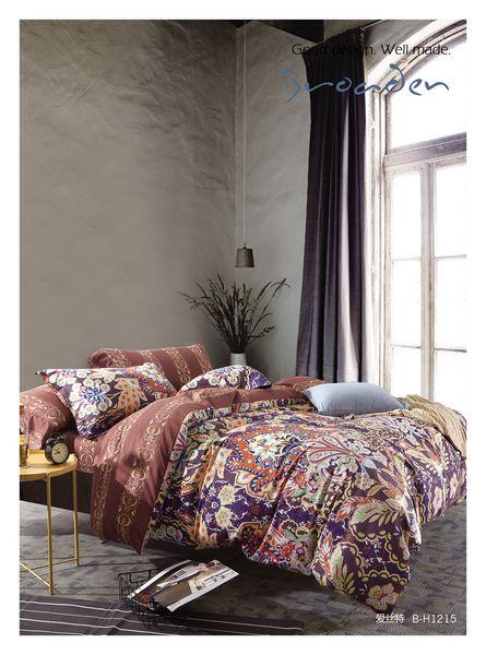 Комплекты постельного белья Famille, Постельное белье Drew (2 сп. евро), Китай, Коричневый, Фиолетовый, Хлопковый сатин  - Купить