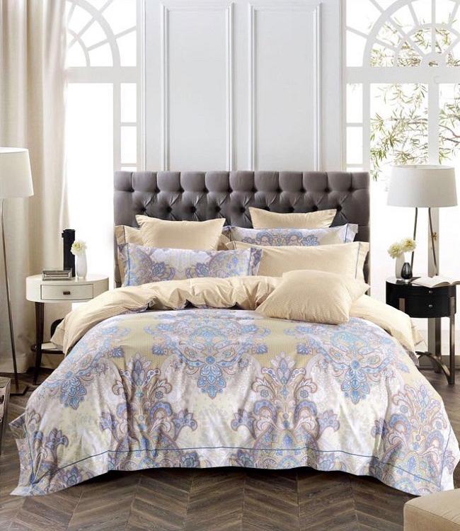 Купить Комплекты постельного белья DO'n'CO, Постельное белье Bonnet (1, 5 спал.), Турция, Бежевый, Сиреневый, Хлопковый сатин