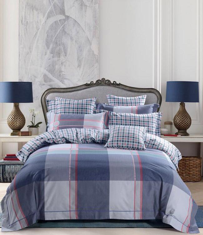 Купить Комплекты постельного белья DO'n'CO, Постельное белье Oceane (1, 5 спал.), Турция, Серый, Синий, Хлопковый сатин