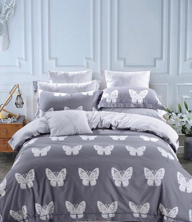 Купить Комплекты постельного белья DO'n'CO, Постельное белье Sude (1, 5 спал.), Турция, Белый, Серый, Хлопковый сатин