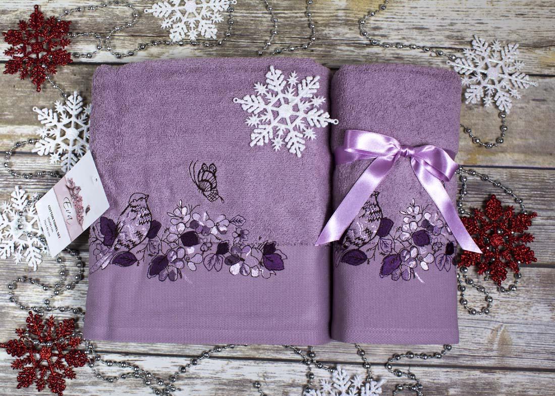 Полотенца Karna, Полотенце Eva Цвет: Фиолетовый (Набор), Турция, Махра  - Купить