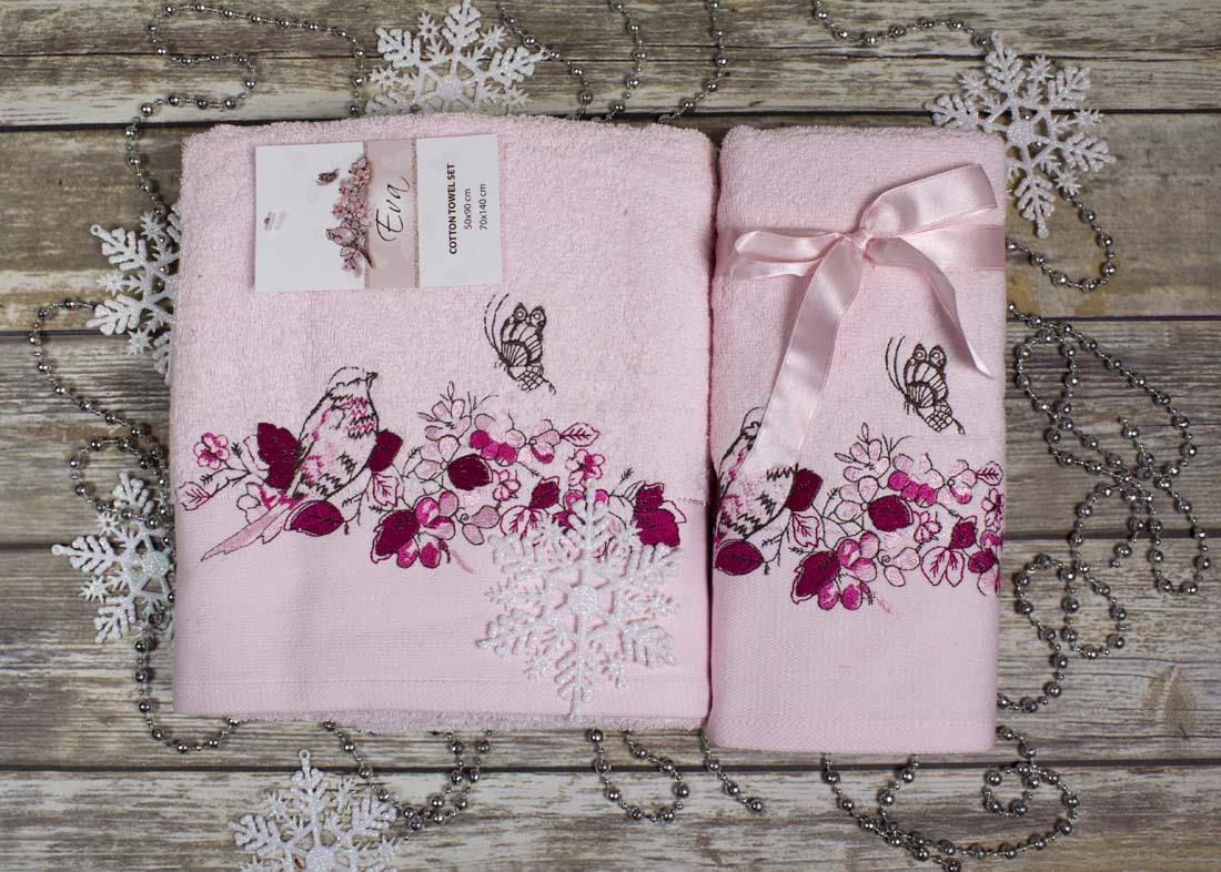 Купить Полотенца Karna, Полотенце Eva Цвет: Светло-Розовый (Набор), Турция, Махра