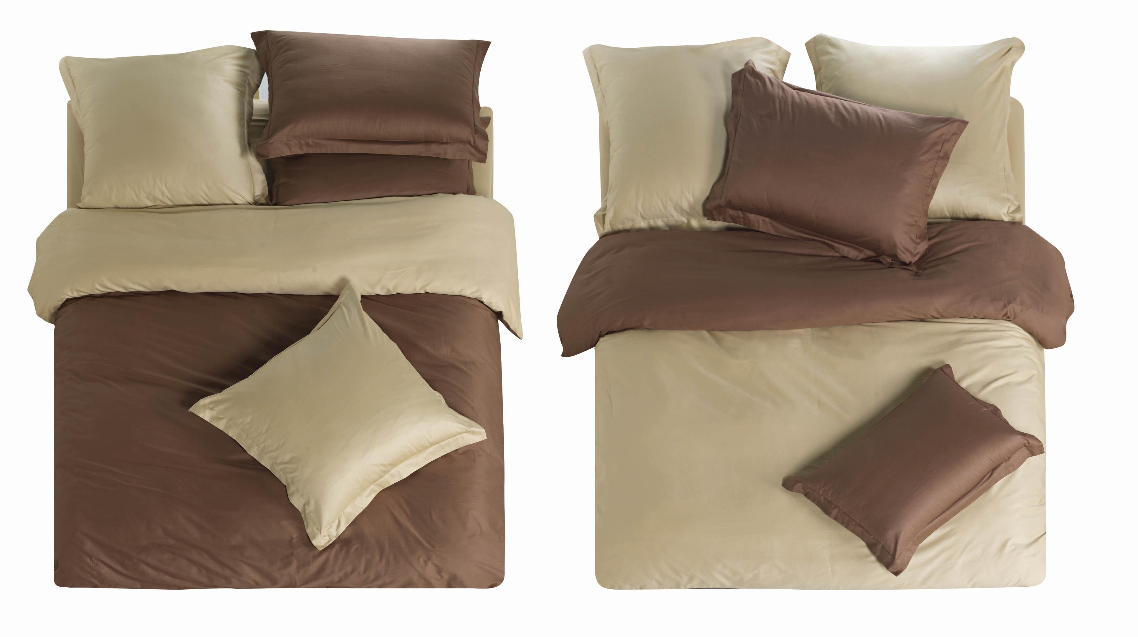 Комплекты постельного белья СайлиД, Постельное белье Melva L- 5 (2 сп. евро), Китай, Коричневый, Кремовый, Хлопковый сатин  - Купить