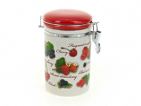 Купить Хранение продуктов Polystar, Банка для сыпучих Садовая Ягода (10х17 см), Китай, Бежевый, Красный, Керамика