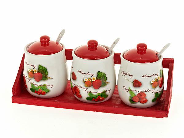 Хранение продуктов Polystar Банки для сыпучих Садовая Ягода (8х12 см - 3 шт) polystar тарелка этажерка садовая ягода 18х24 см
