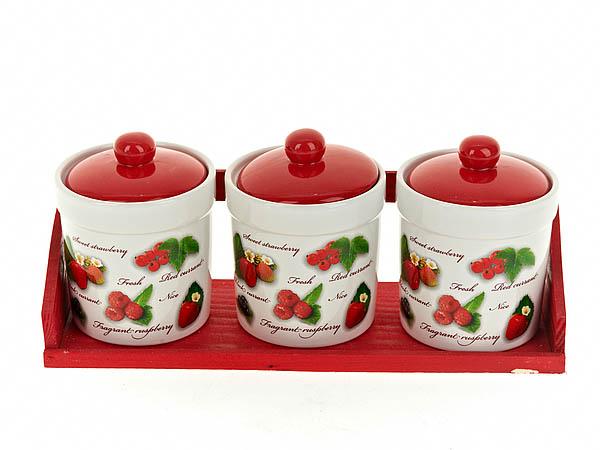 Хранение продуктов Polystar Банки для сыпучих Садовая Ягода (9х13 см - 3 шт) polystar тарелка этажерка садовая ягода 18х24 см