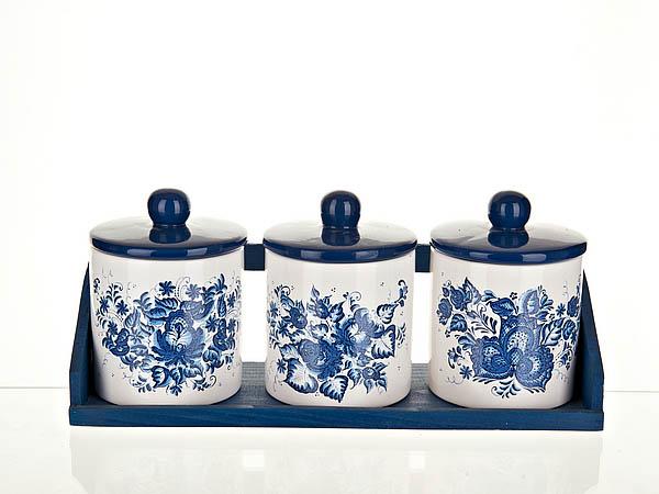 Хранение продуктов Polystar Банки для сыпучих Орнамент (9х13 см - 3 шт) polystar банка для специй двойная орнамент 8х12х15 см