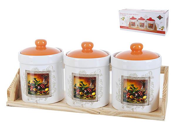 Хранение продуктов Polystar Банки для сыпучих Севилья (9х13 см - 3 шт) polystar банки для сыпучих прованс 10х16 см 3 шт