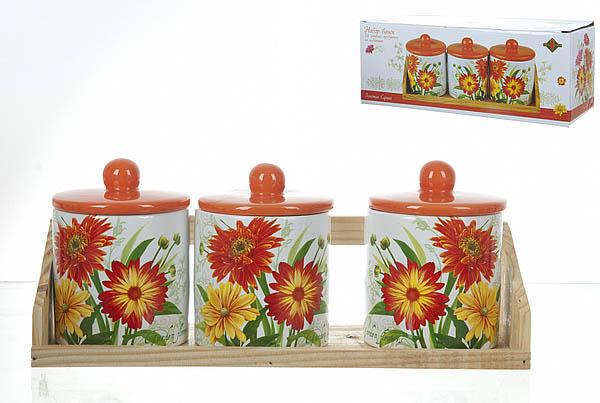 Хранение продуктов Polystar Банки для сыпучих Золотая Серена (9х12 см - 3 шт) polystar банки для сыпучих прованс 10х16 см 3 шт
