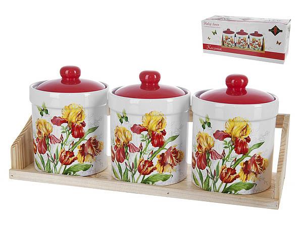 Хранение продуктов Polystar Банки для сыпучих Касатик (9х13 см - 3 шт) polystar банки для сыпучих прованс 10х16 см 3 шт