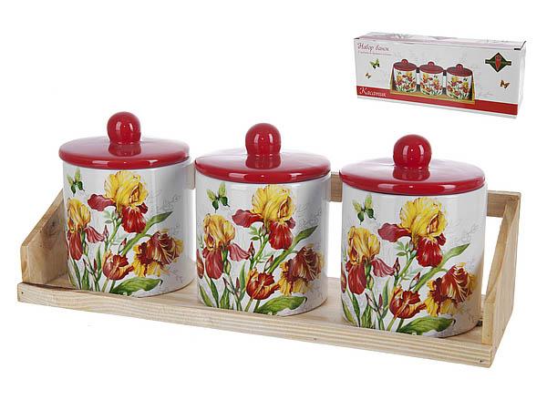 Хранение продуктов Polystar Банки для сыпучих Касатик (9х12 см - 3 шт) polystar банки для сыпучих прованс 10х16 см 3 шт