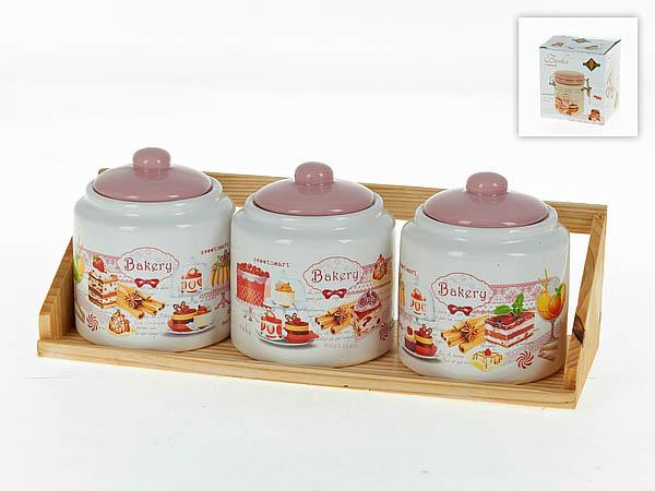 Хранение продуктов Polystar Банки для сыпучих Бисквит (10х11 см - 3 шт) polystar сахарница золотая серена 10х11 см