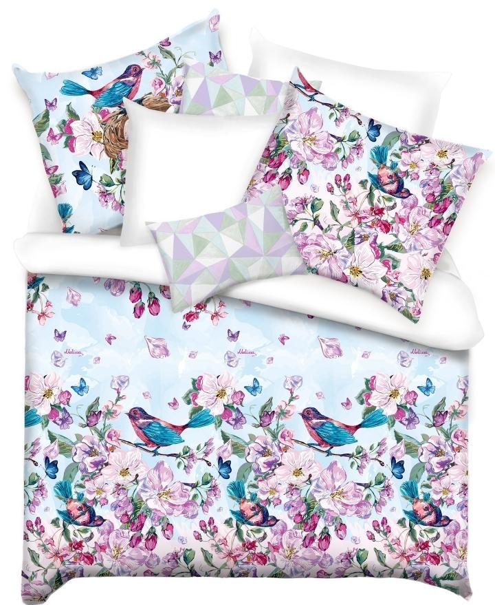 Купить Комплекты постельного белья Mona Liza, Постельное белье Spring (1, 5 спал.), Россия, Розовый, Синий, Хлопковый сатин