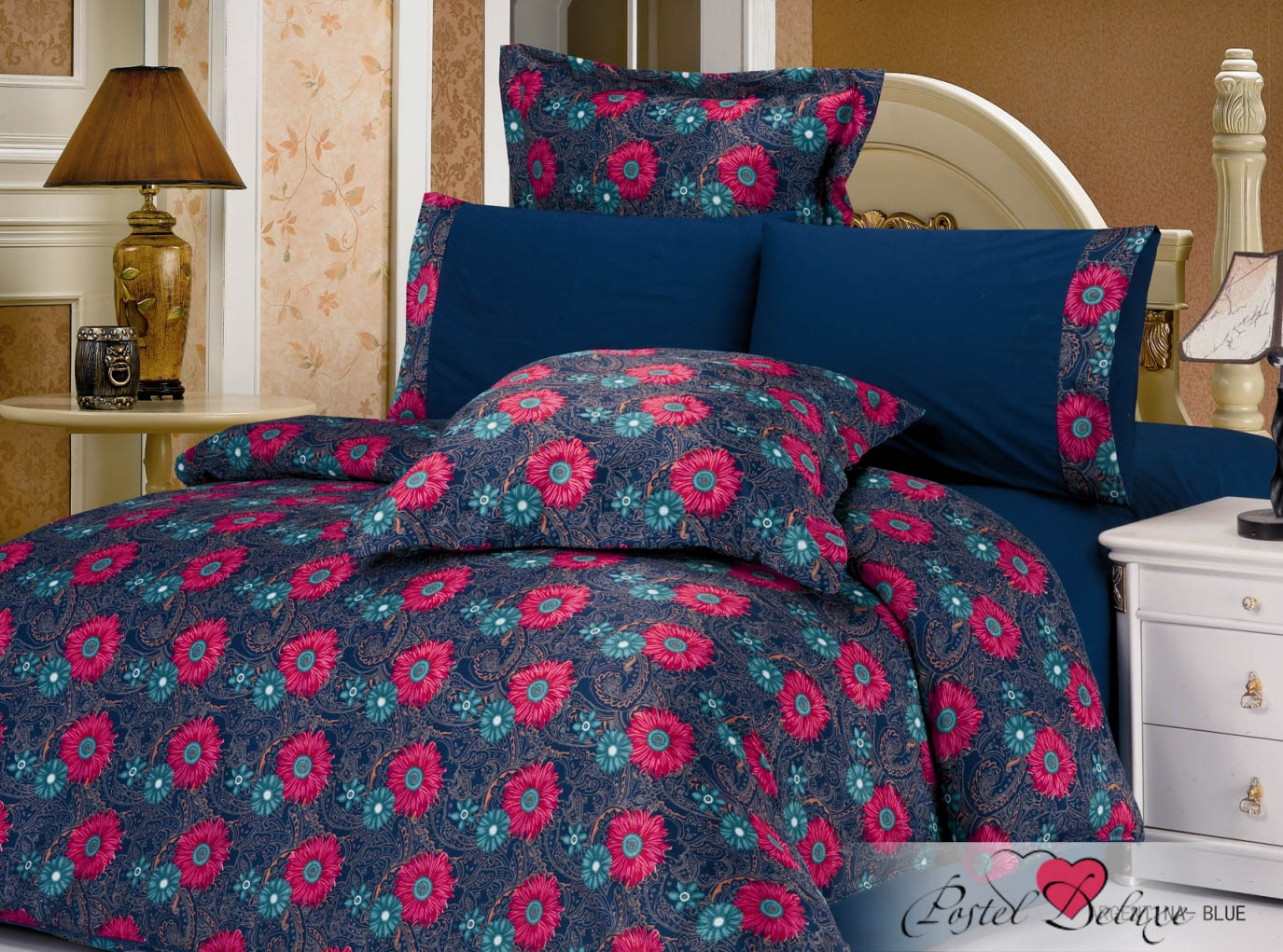 Купить Комплекты постельного белья Le Vele, Постельное белье Argentina Цвет: Синий (2 сп. евро), Турция, Черный, Атласный шелк