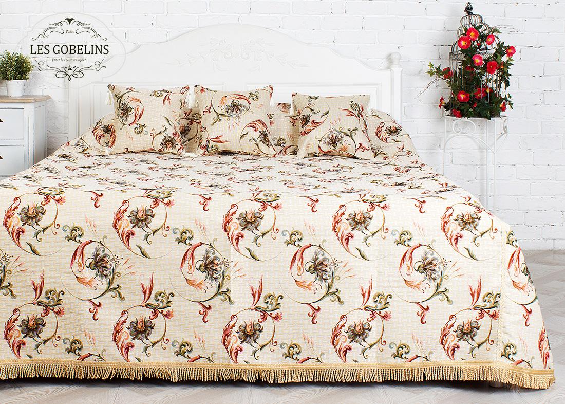 Купить Пледы и покрывала Les Gobelins, Покрывало на кровать Anglais bell (240х260 см), Россия, Зеленый, Красный, Персиковый, Розовый, Хлопковый гобелен