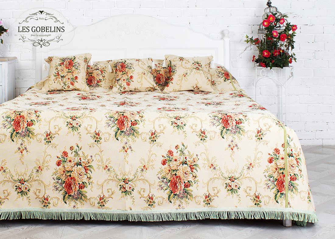 Купить Пледы и покрывала Les Gobelins, Покрывало на кровать Loire (240х260 см), Россия, Зеленый, Красный, Персиковый, Хлопковый гобелен