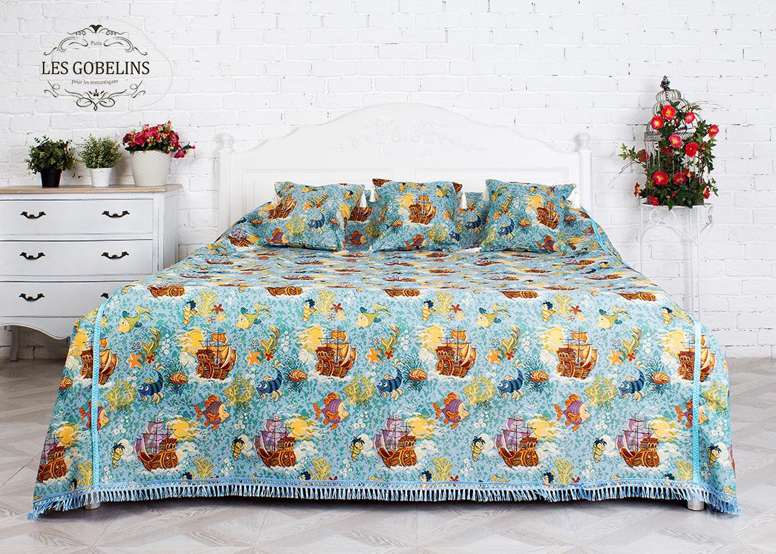 Купить Покрывала, подушки, одеяла для малышей Les Gobelins, Детское Покрывало на кровать Ocean (160х230 см), Россия, Голубой, Коричневый, Хлопковый гобелен