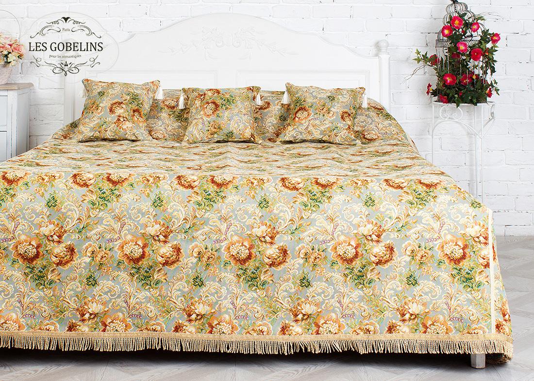 Купить Пледы и покрывала Les Gobelins, Покрывало на кровать Catherine (240х260 см), Россия, Зеленый, Оранжевый, Хлопковый гобелен