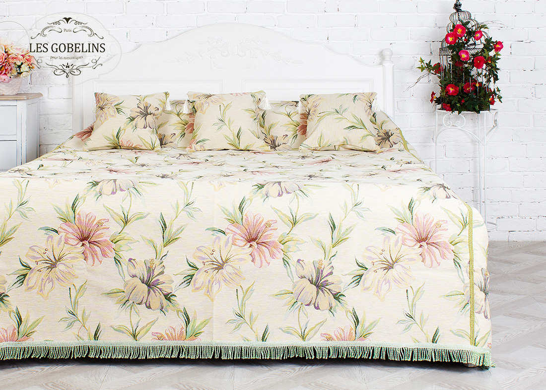 где купить Пледы и покрывала Les Gobelins Покрывало на кровать Perle lily (120х220 см) по лучшей цене