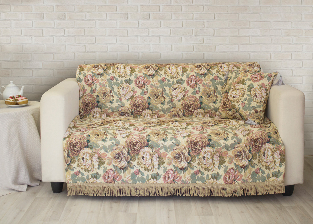 Пледы и покрывала Les Gobelins Накидка на диван Fleurs Hollandais (150х230 см)