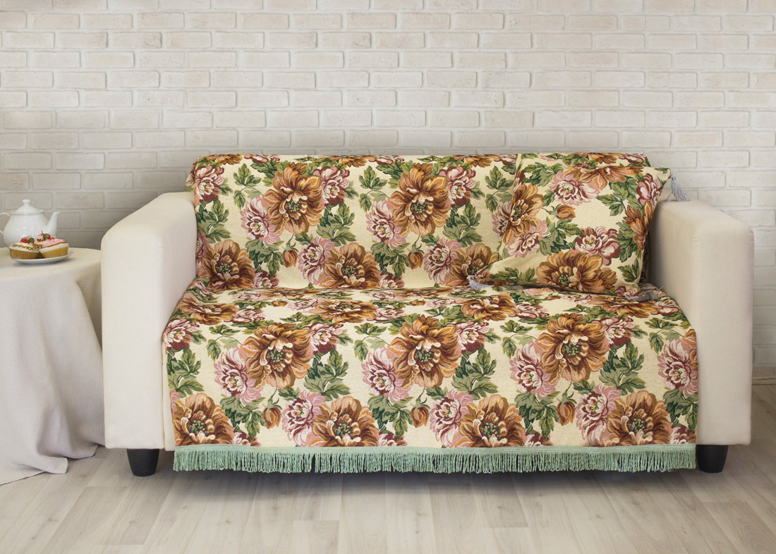 где купить Пледы и покрывала Les Gobelins Накидка на диван Pivoines (150х200 см) по лучшей цене