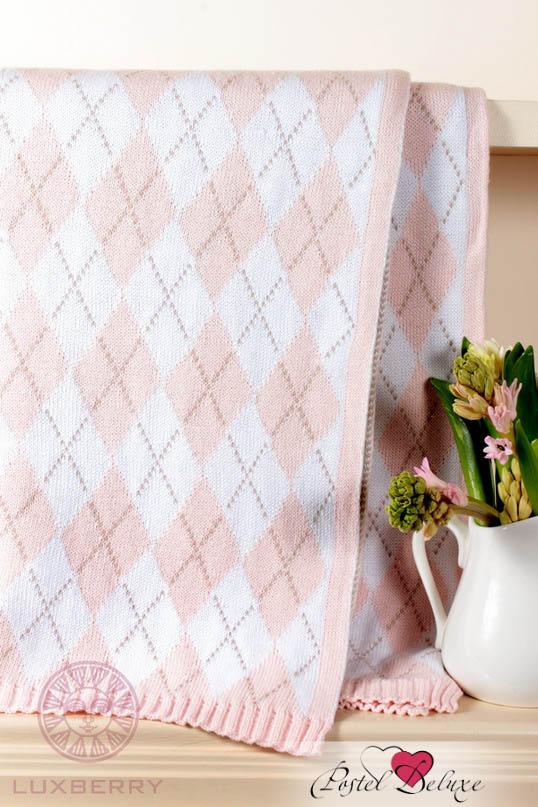 Купить Покрывала, подушки, одеяла для малышей Luxberry, Детский плед Imperio 252 Цвет: Розовый-Белый-Бежевый (100х150 см), Португалия, Вязаный хлопок