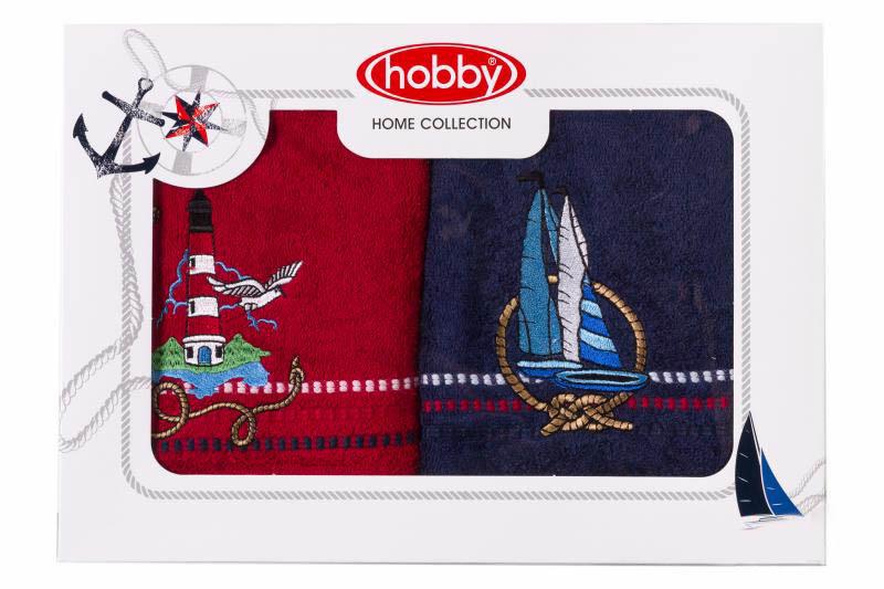 Купить Полотенца HOBBY HOME COLLECTION, Полотенце Marina Цвет: Красно-Синий (Набор), Турция, Красный, Синий, Махра