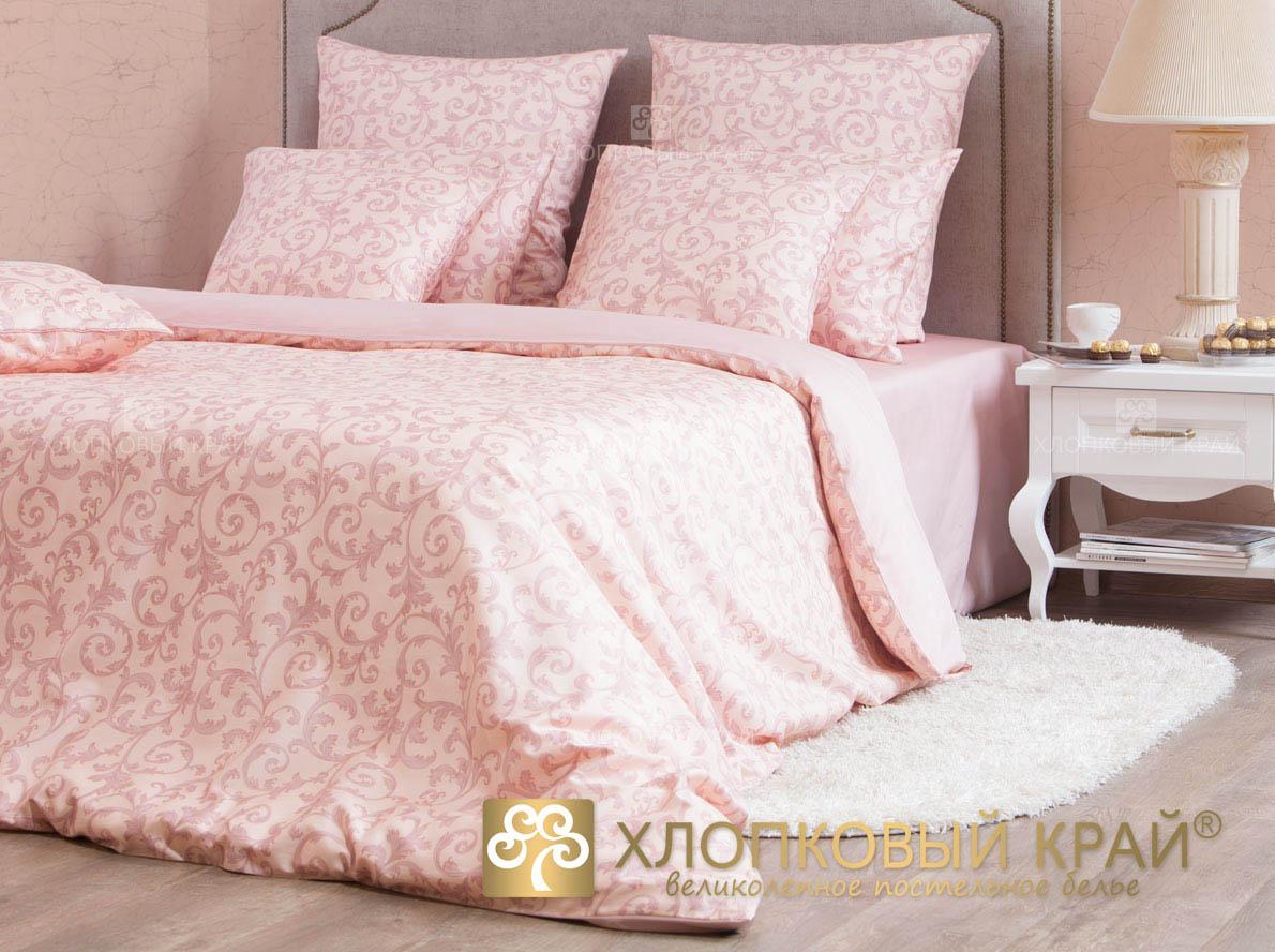 Купить Комплекты постельного белья Хлопковый Край, Постельное белье Мишель Цвет:Розовый(2 сп. евро), Россия, Хлопковый сатин