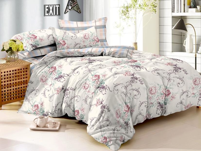 Купить Комплекты постельного белья Примавера, Постельное белье Lovel (2 спал.), Китай, Розовый, Серый, Хлопковый сатин