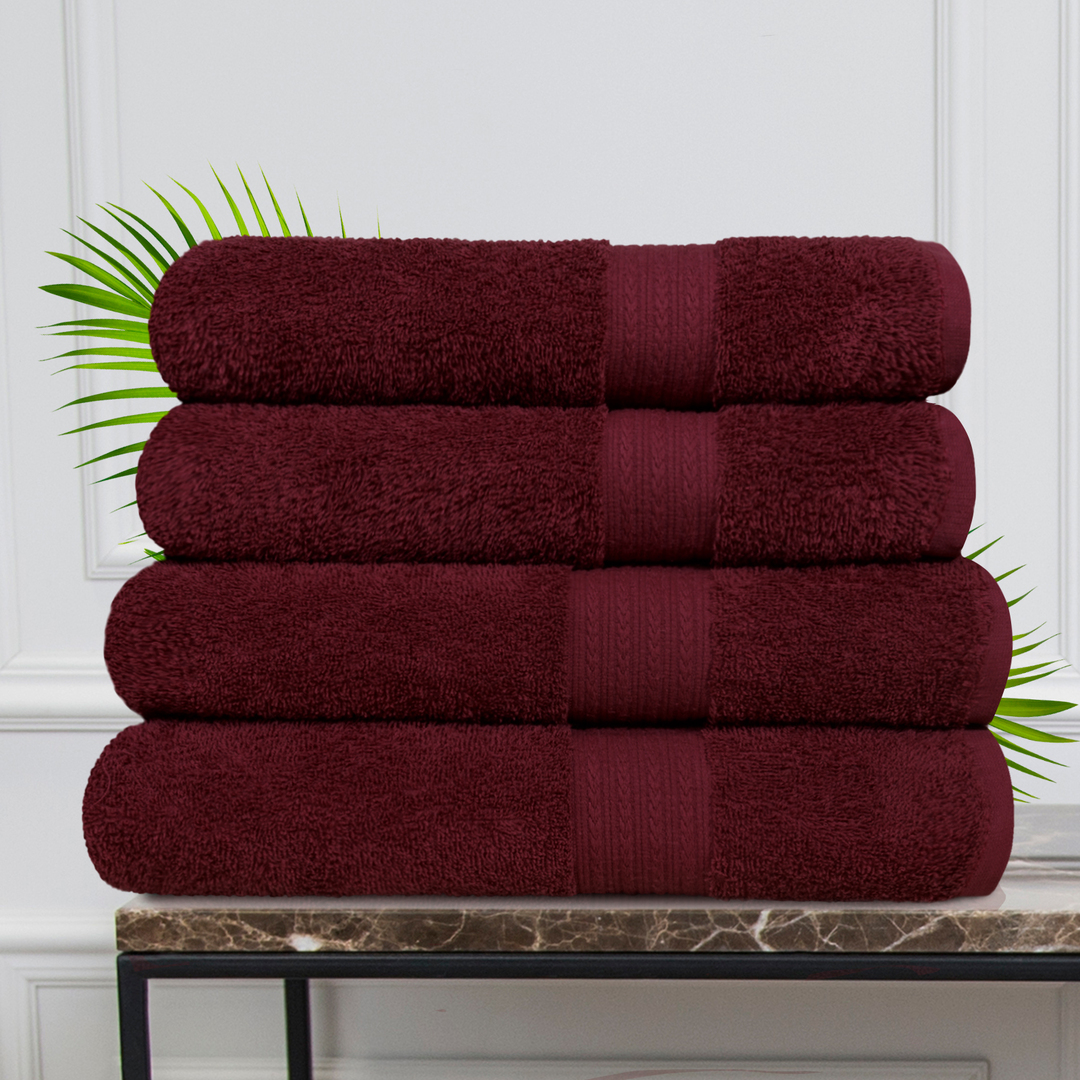 Набор из 4 полотенец Morocco Цвет: Бордовый (50х90 см - 2 шт, 70х140 см - 2 шт)
