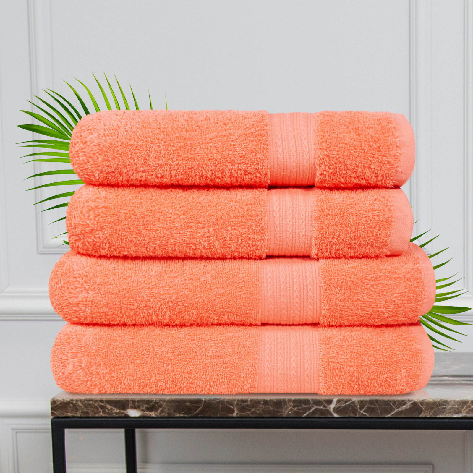 Набор из 4 полотенец Morocco Цвет: Коралловый (50х90 см - 2 шт, 70х140 см - 2 шт)