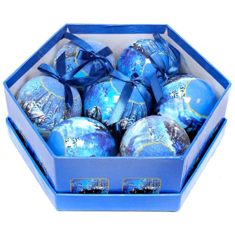 Новогоднее украшение Шар Зимний Пейзаж (6 см - 7 шт) фото