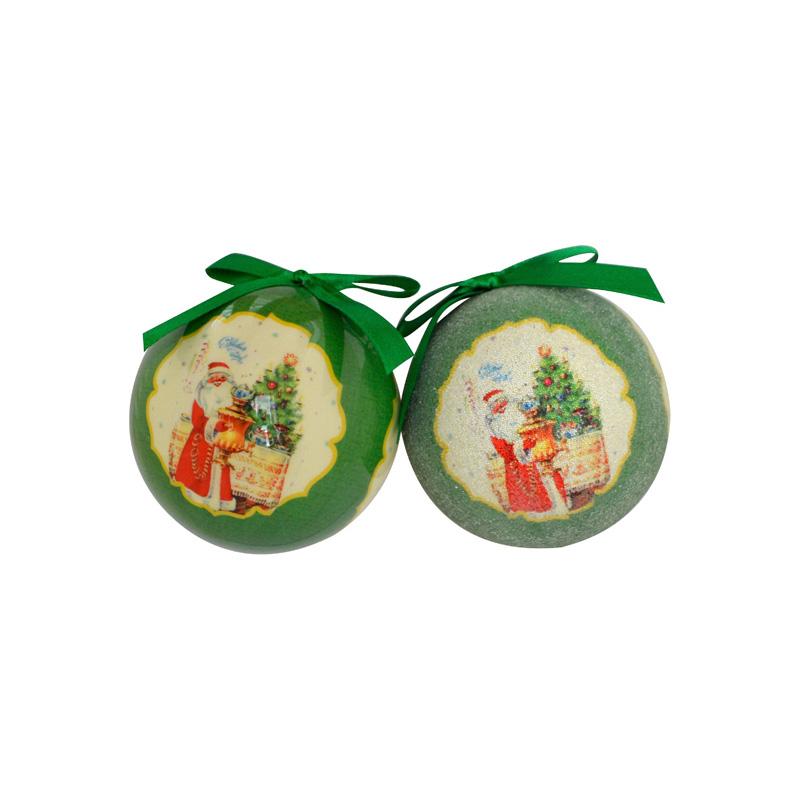 Новогоднее украшение Шар Дед Мороз (7 см - 6 шт) фото