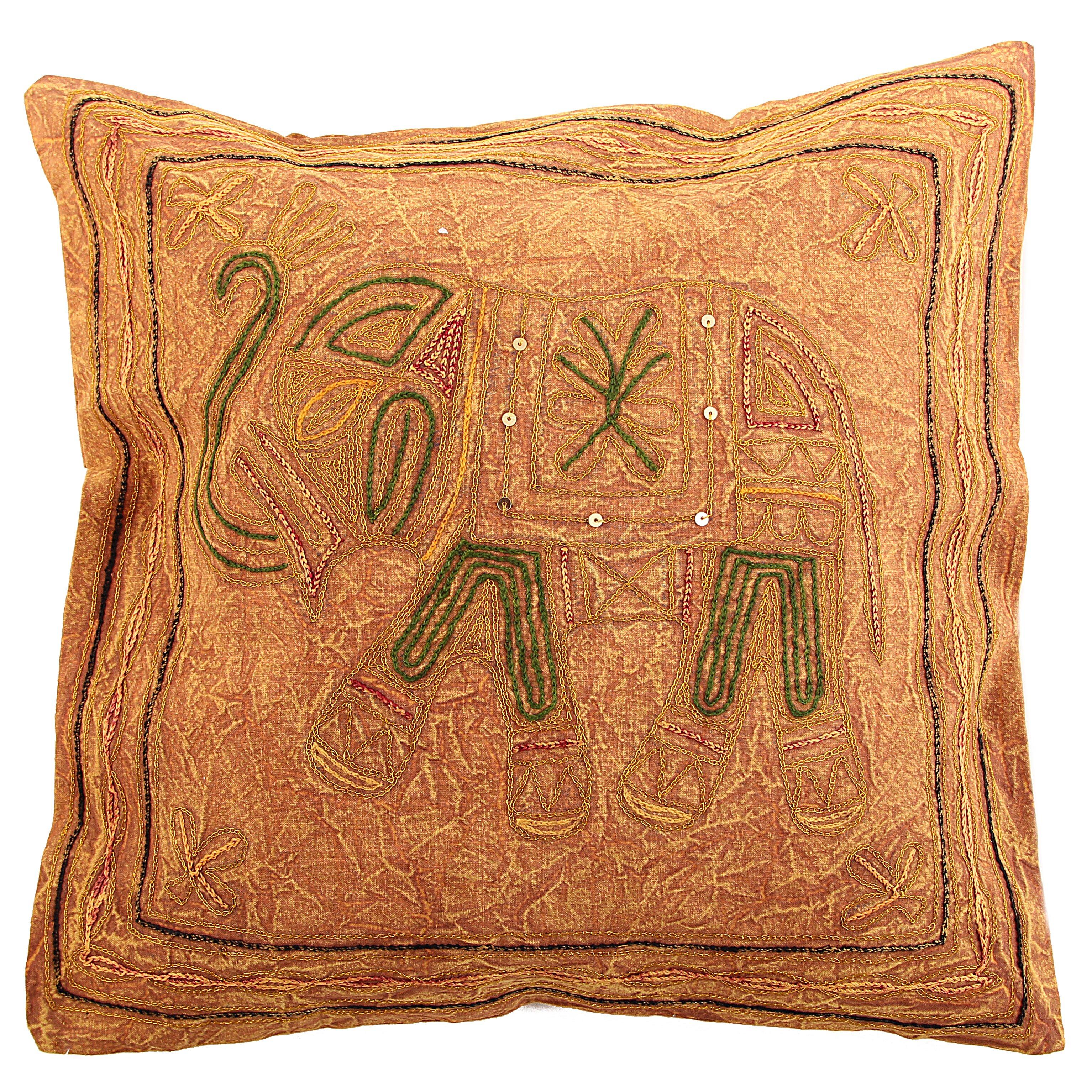 Декоративные подушки Ганг Декоративная наволочка Слон Цвет: Горчичный (40х40)