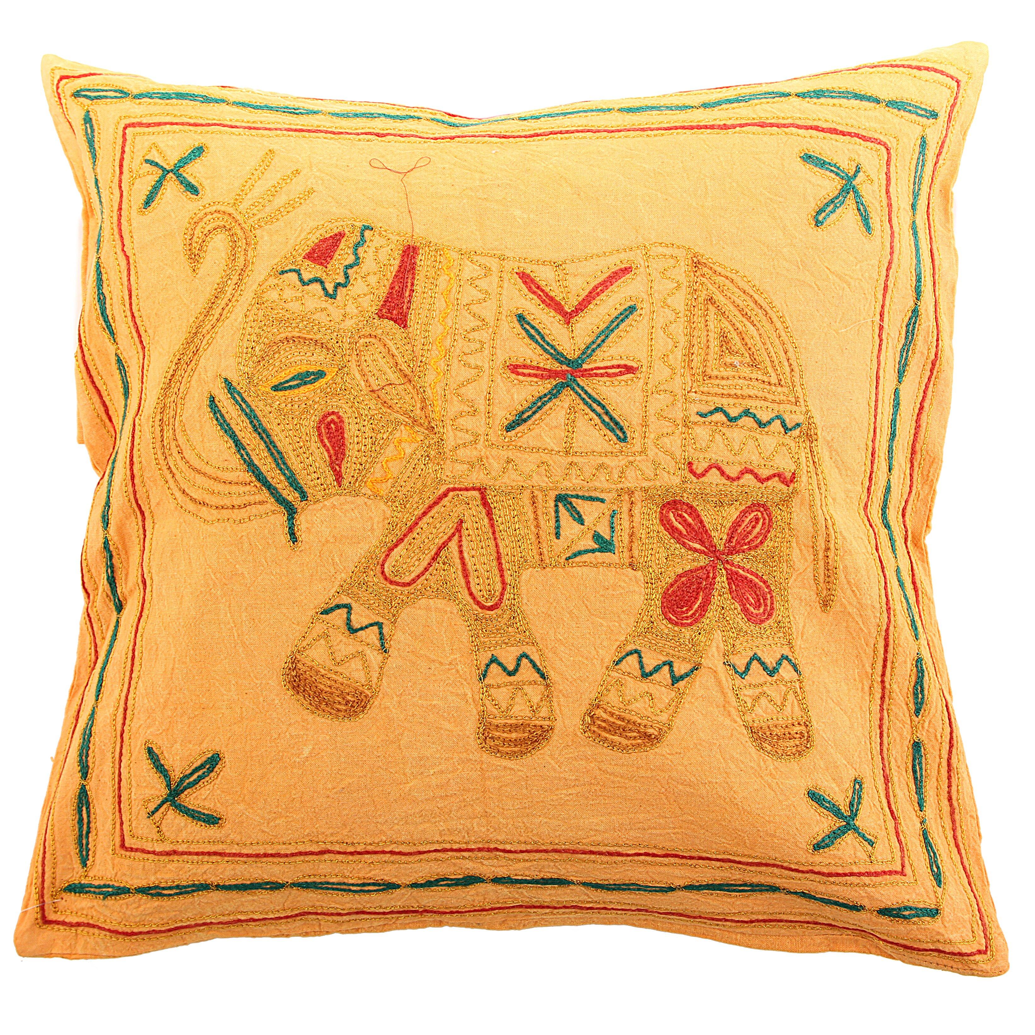 Декоративные подушки Ганг Декоративная наволочка Слон Цвет: Желтый (40х40)