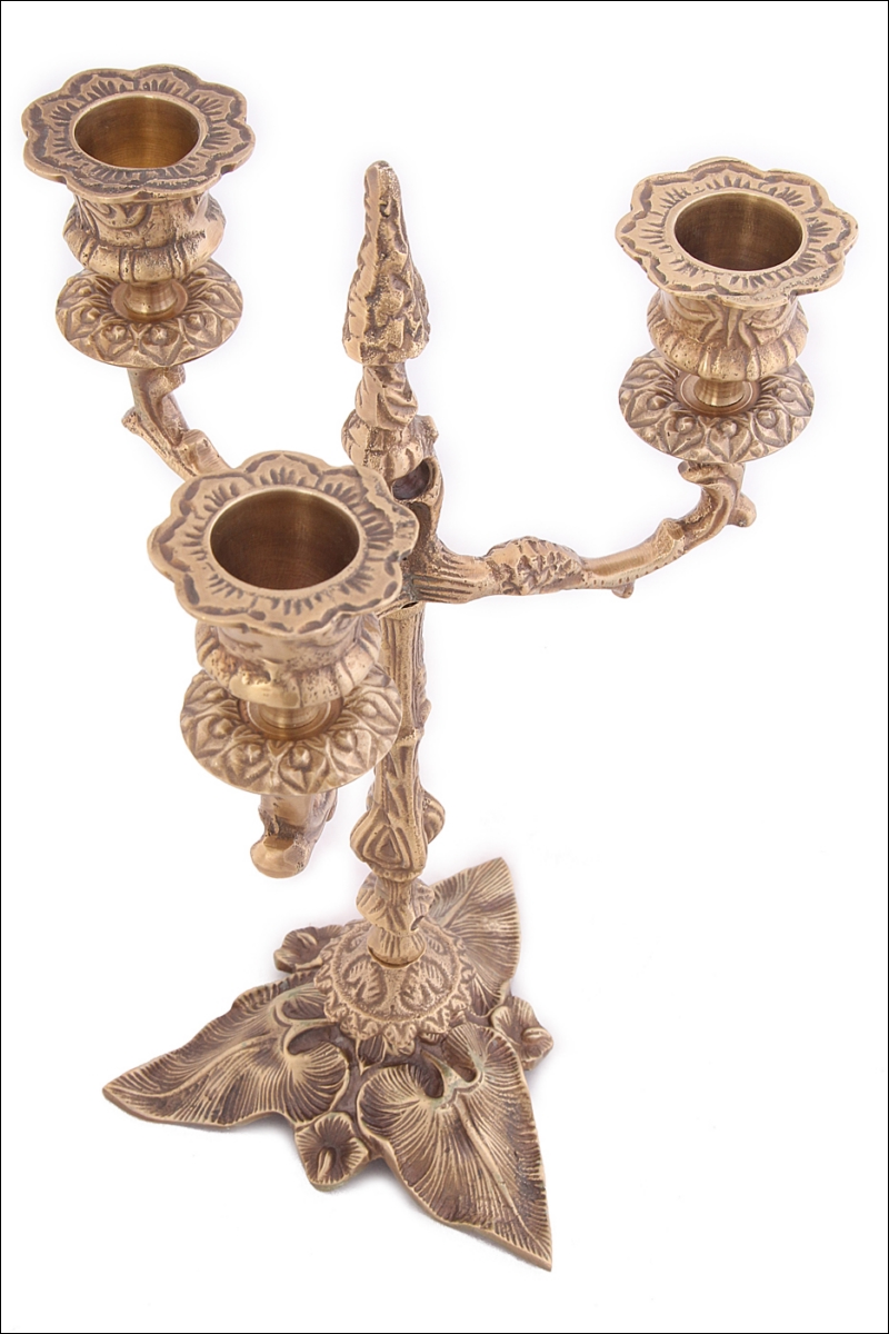 Купить Декоративные свечи Ганг, Подсвечник Arwen (16х16х26 см), Индия, Латунь