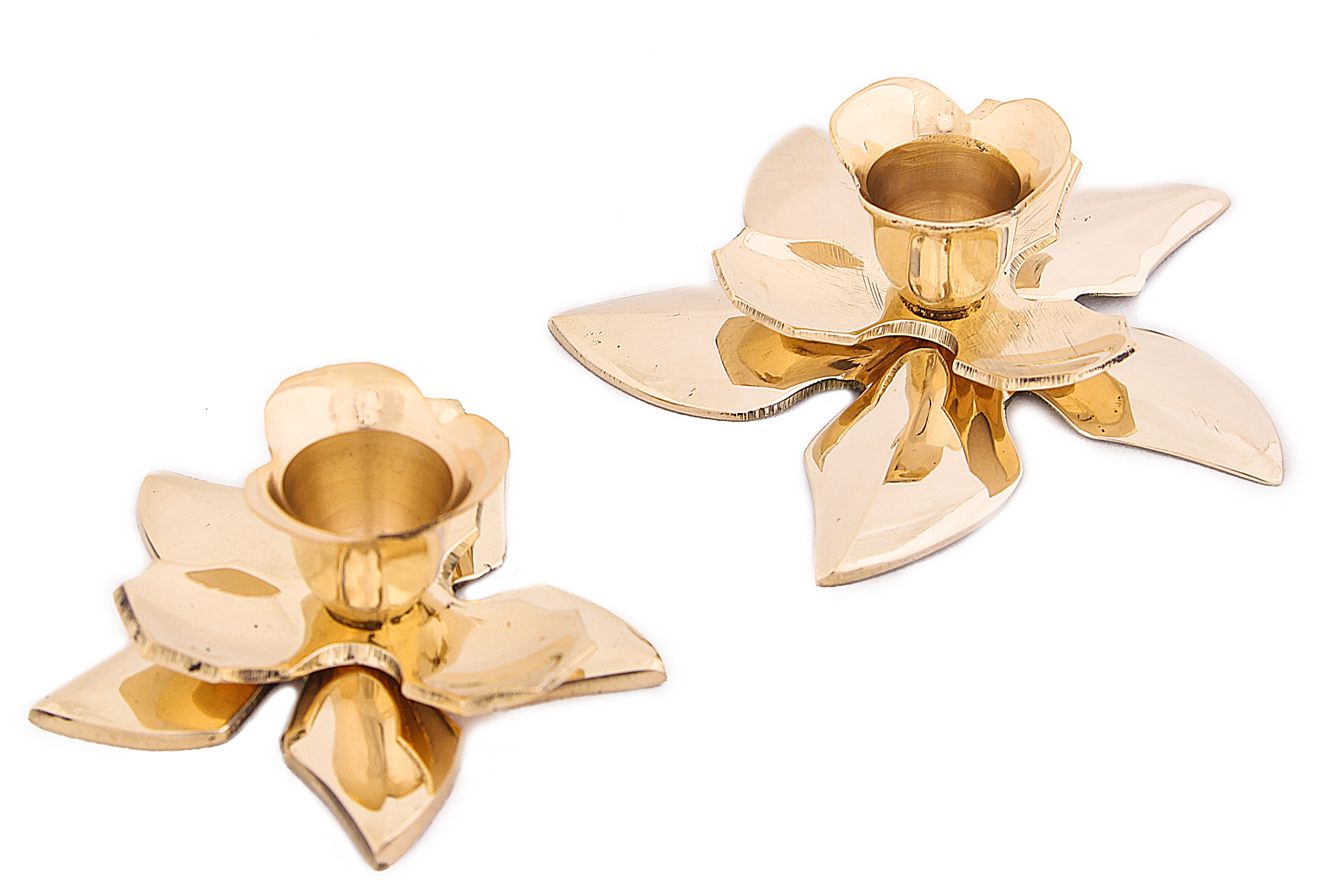 Купить Декоративные свечи Ганг, Подсвечник Цветы (Набор), Индия, Золотой, Латунь