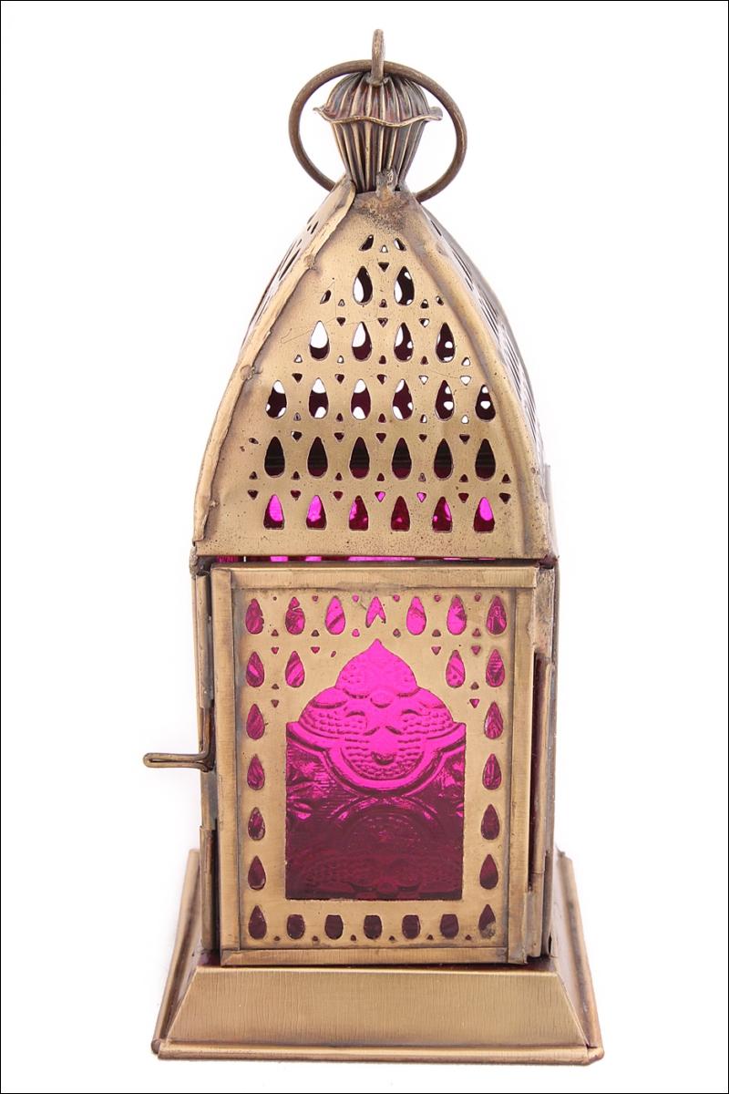 Декоративные свечи Ганг Подсвечник Фонарь Цвет: Фуксия (8х8х17 см) подсвечник фонарь белый 16х33 см