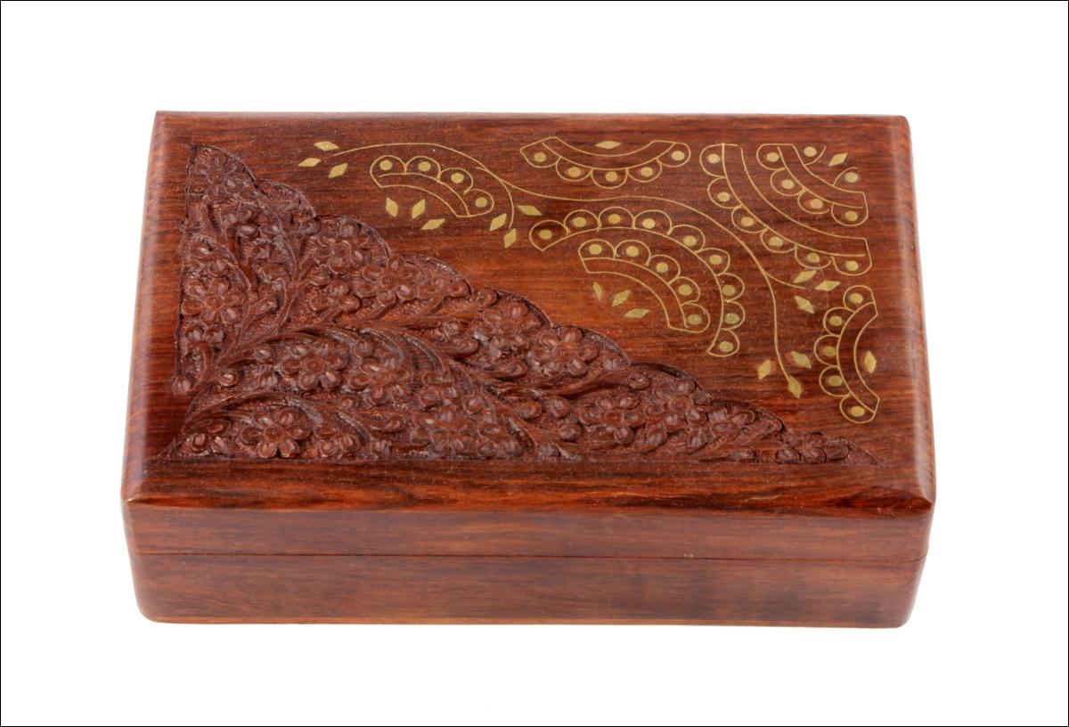 Купить Шкатулки Ганг, Шкатулка Reilly Цвет: Коричневый (6х13х20 см), Индия, Дерево, Латунь